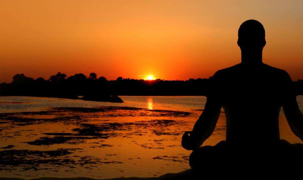 Download Free Stock HD Photo of Meditation at Sunset Online