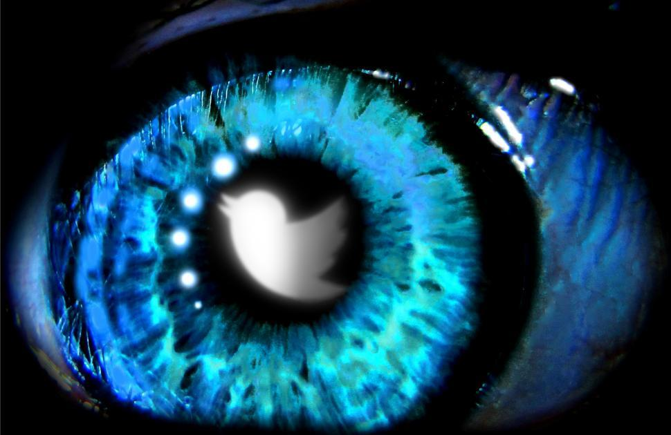 Download Free Stock HD Photo of Twitter logo reflected on the eyes. Editorial use only. Online