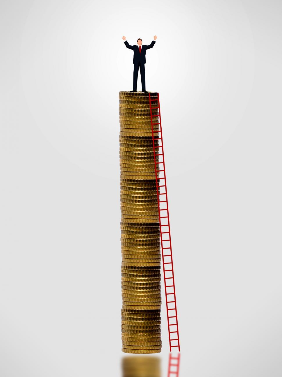 Download Free Stock HD Photo of Businessman on top of gold coin stack - Wealth growth concept Online