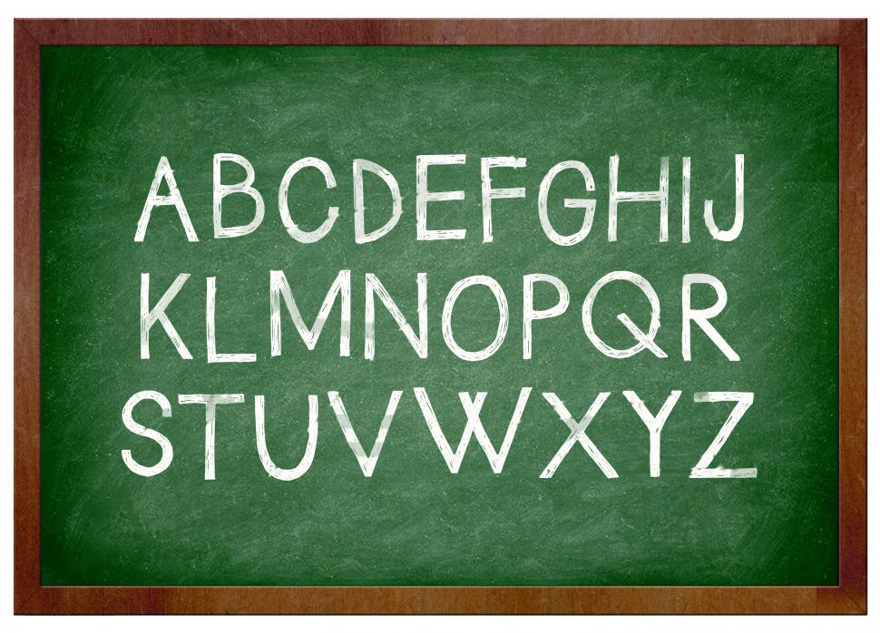 Download Free Stock HD Photo of alphabet chalk on school chalkboard Online