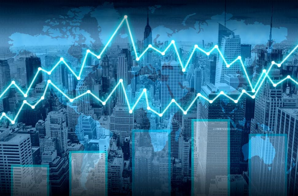 Download Free Stock HD Photo of Finance graph superimposed on Manhattan - Finance concept Online