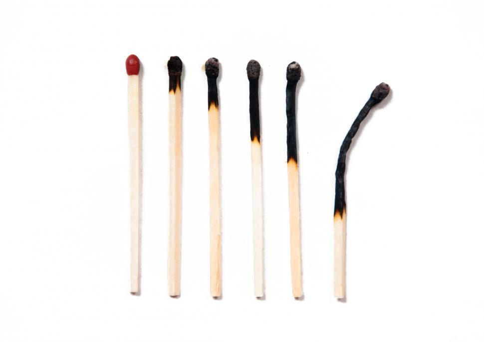 Download Free Stock HD Photo of Set of burnt matches at different stages isolated on white Online