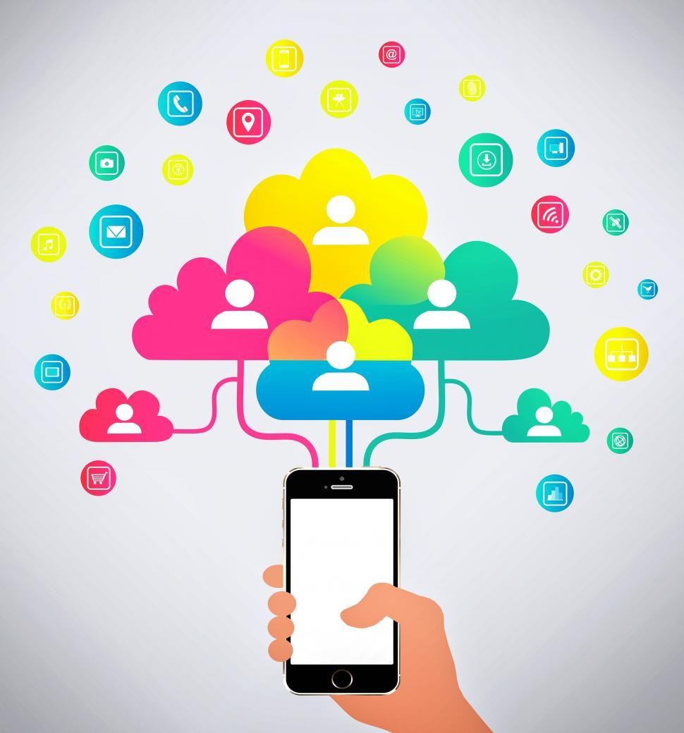 Download Free Stock HD Photo of Hand holding mobile phone connecting with the cloud Online