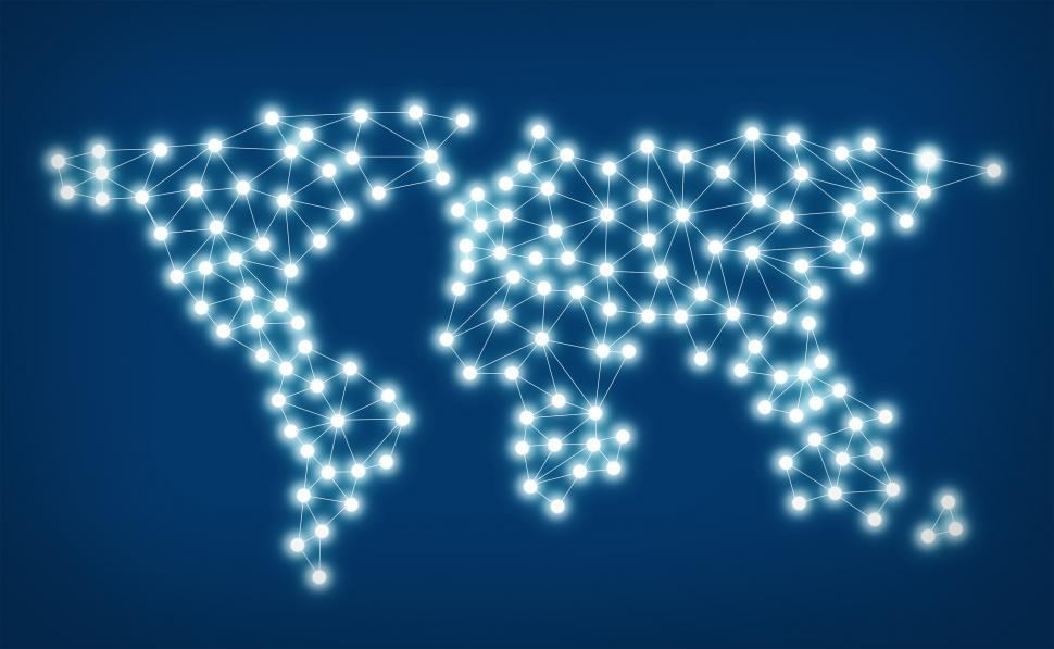 Download Free Stock HD Photo of Social media network - World map with nodes linked by lines Online
