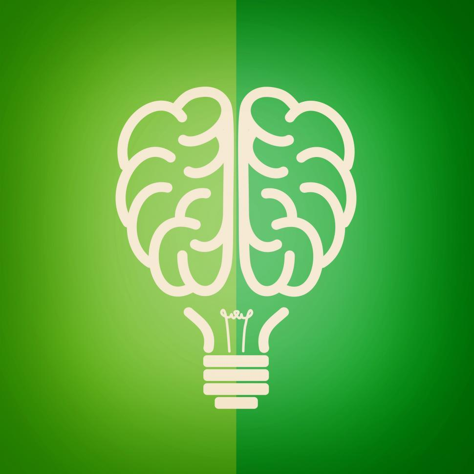 Title For Cat Green Lightbulb Brain