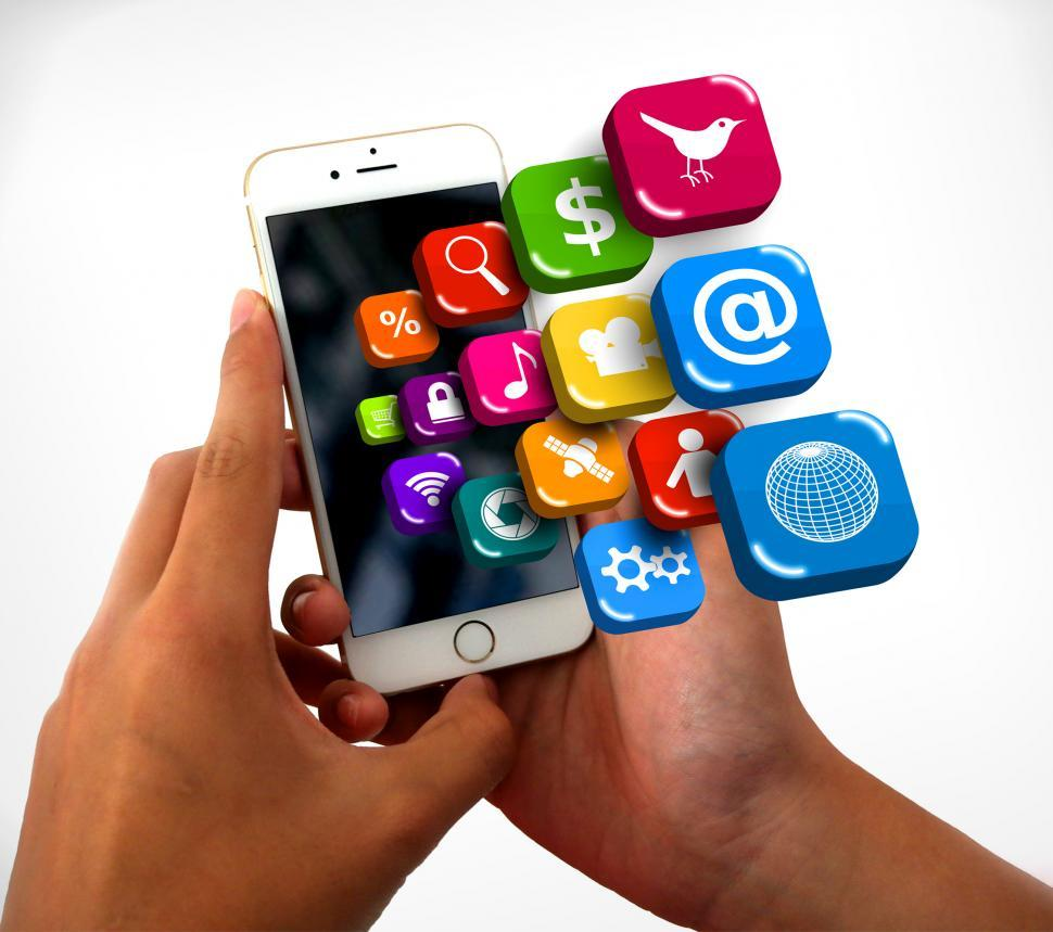Smartphone on hands with app icons - Information technology conc
