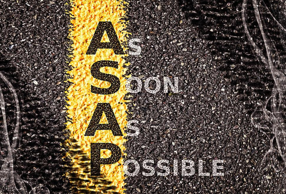 Download Free Stock HD Photo of ASAP - As Soon As Possible acronym on road surface markings Online