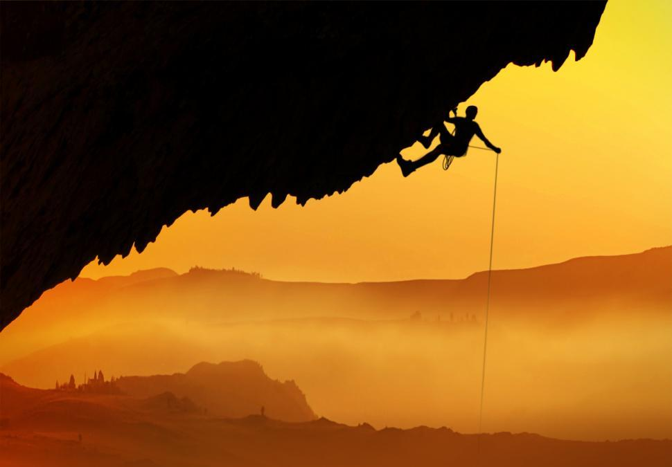 Download Free Stock HD Photo of Alpinist - Silhouette at dawn Online