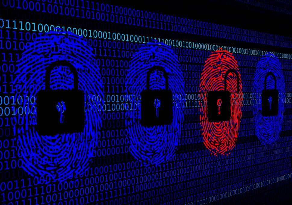 Download Free Stock HD Photo of Cybersecurity concept - Open and closed locks with digital finge Online