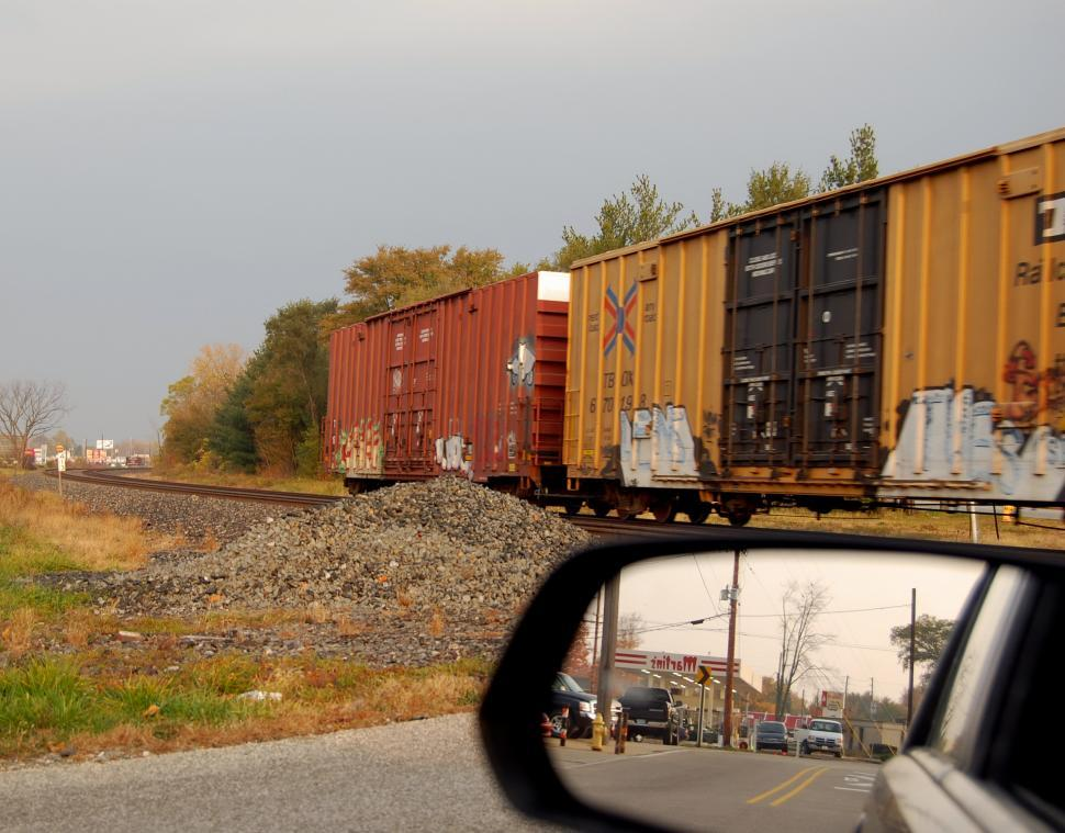 Download Free Stock HD Photo of Train and rear view mirror Online