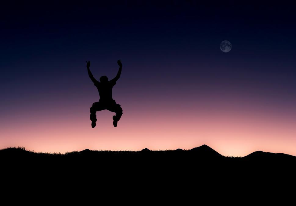 Download Free Stock HD Photo of Illustration of a man jumping full of joy Online