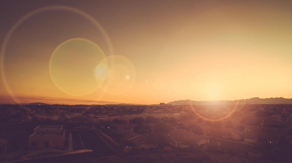 Download Free Stock HD Photo of Golden hour over development Online
