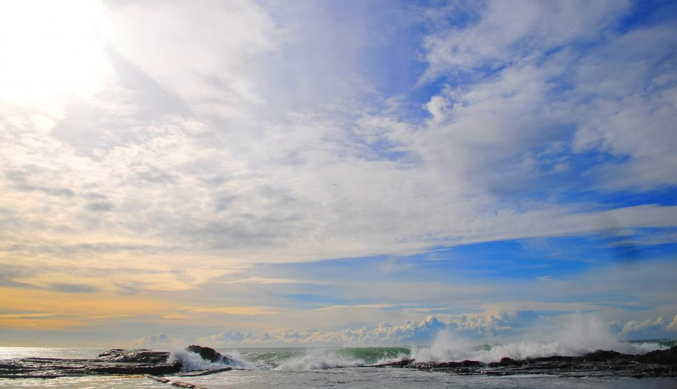 Download Free Stock HD Photo of Sky over waves and ocean Online