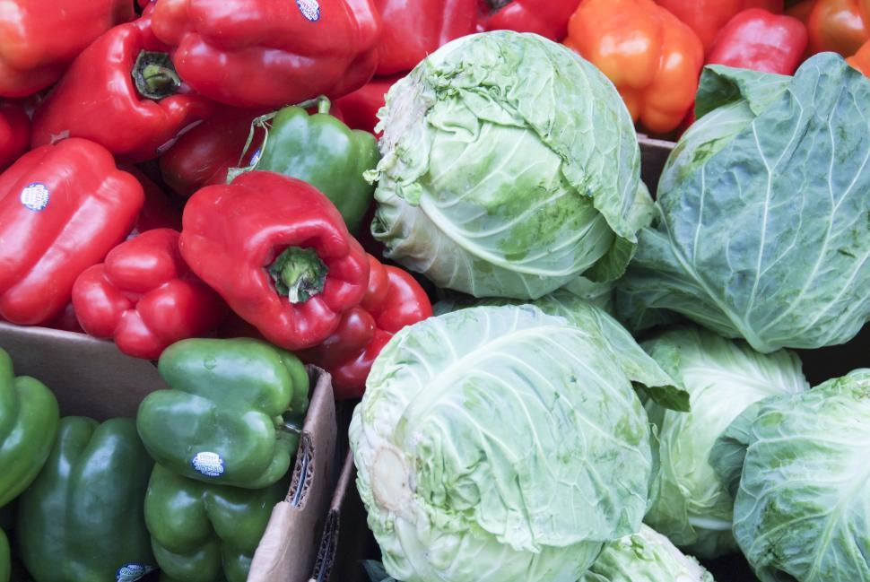 Download Free Stock HD Photo of Bell Peppers and Cabbage Online