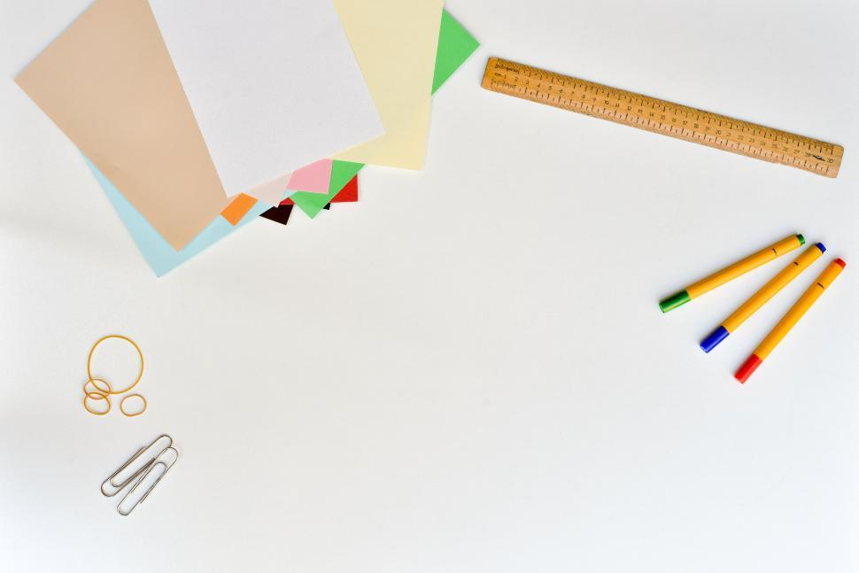 Download Free Stock HD Photo of Various office stationery items Online