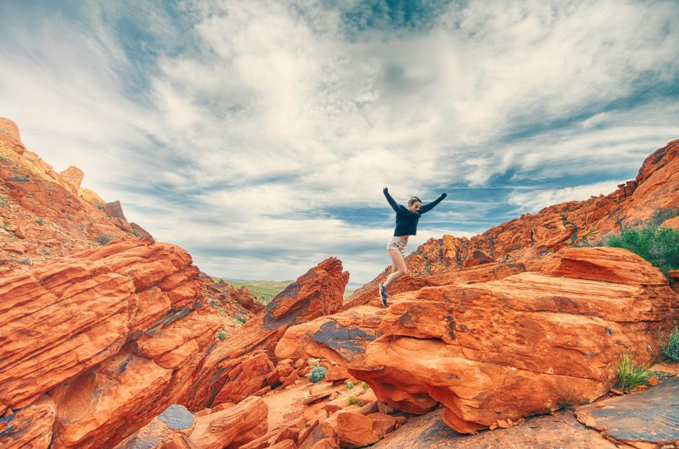 Download Free Stock HD Photo of Woman hiking in canyons Online