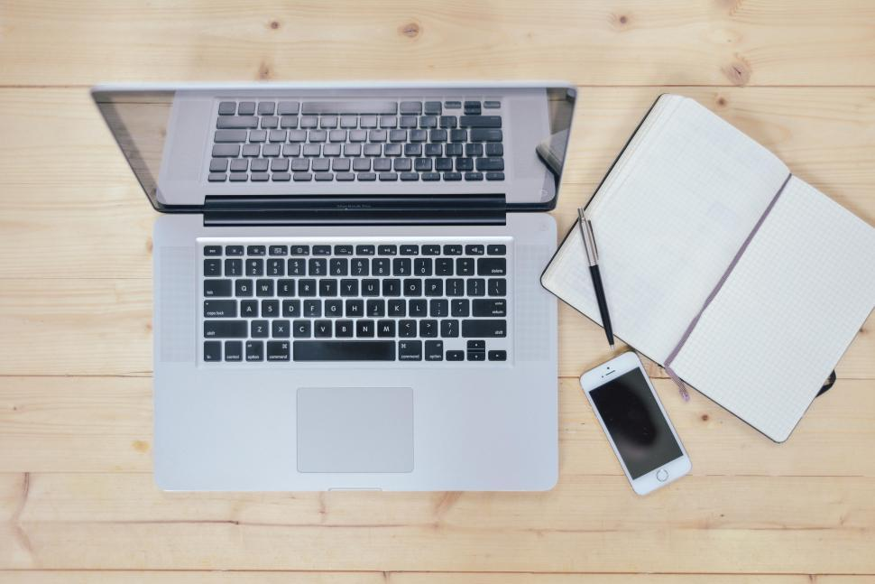 Download Free Stock HD Photo of Work table with notebook Online