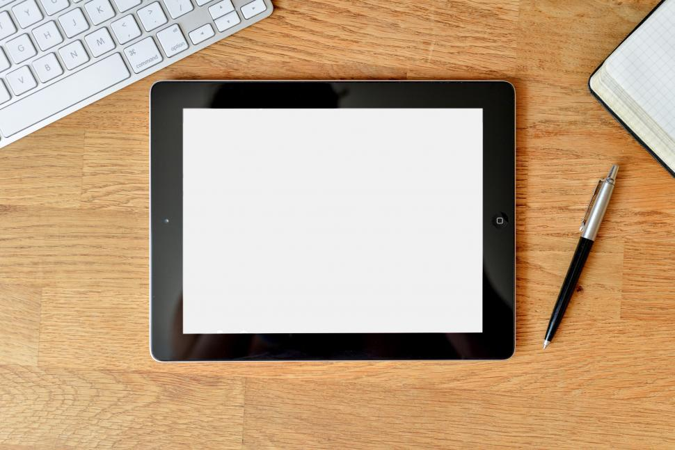 Download Free Stock HD Photo of Tablet computer on desk Online