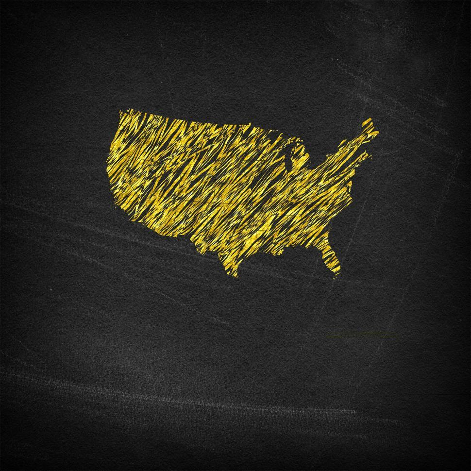 Download Free Stock HD Photo of Main continental United States on chalkboard Online