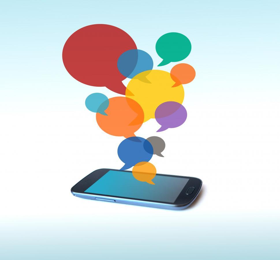Download Free Stock HD Photo of Speech bubbles over smartphone Online