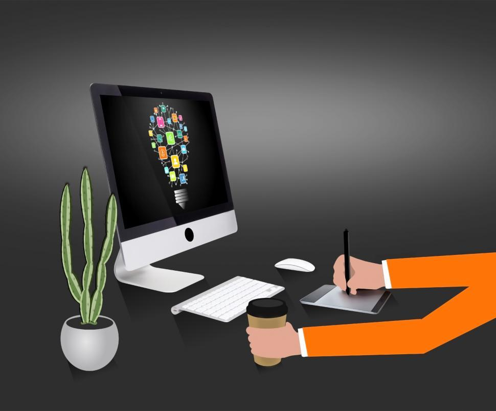 Free image of Creative professional working at the desk - Illustration showing a creative professional working on the computer at the office or as a freelancer