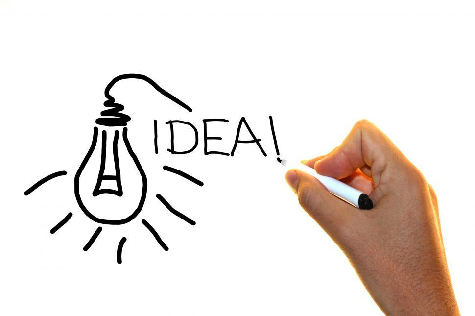 Download Free Stock HD Photo of Hand drawing the word idea with lightbulb sketch Online