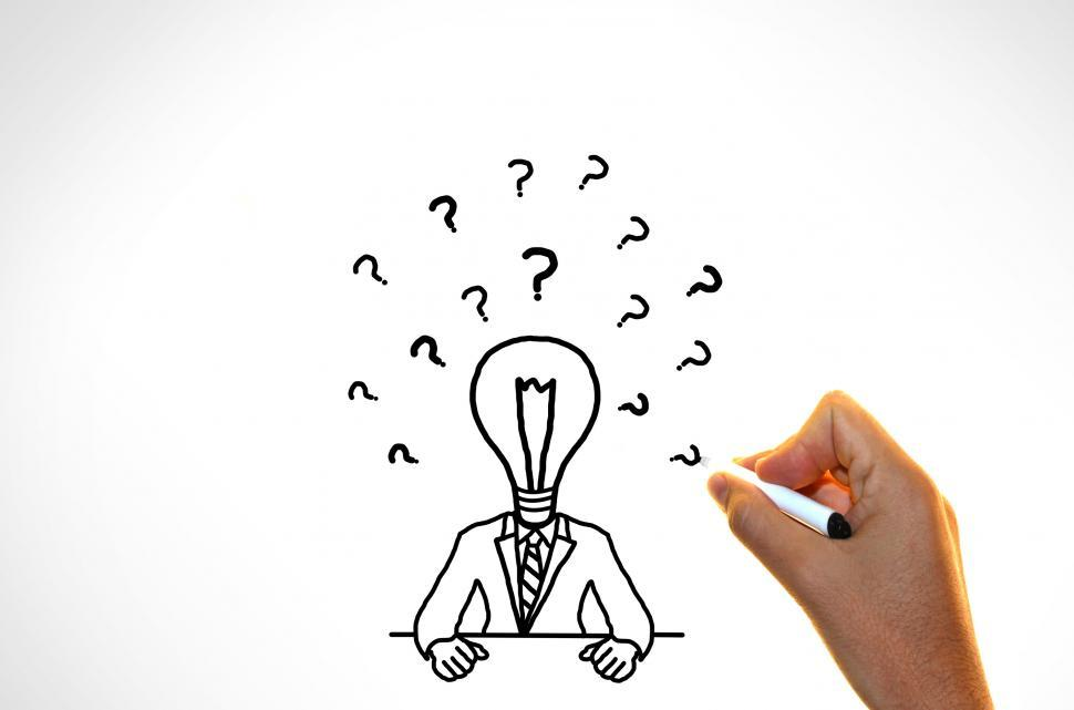 Download Free Stock HD Photo of Doubts and ideas concept -  Businessman with questions marks Online