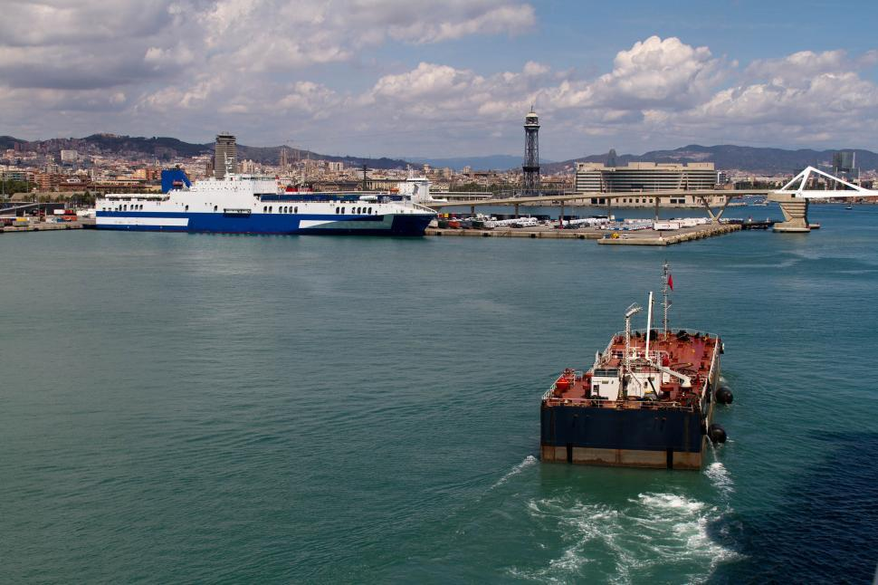 Download Free Stock HD Photo of Tanker barge with Ferry Online