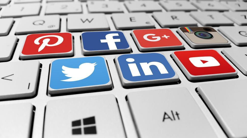 Download Free Stock HD Photo of Social media networks on the computer keyboard Online