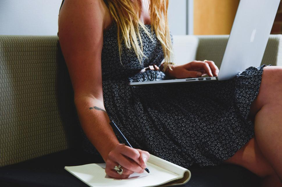 Download Free Stock HD Photo of Taking notes from computer Online