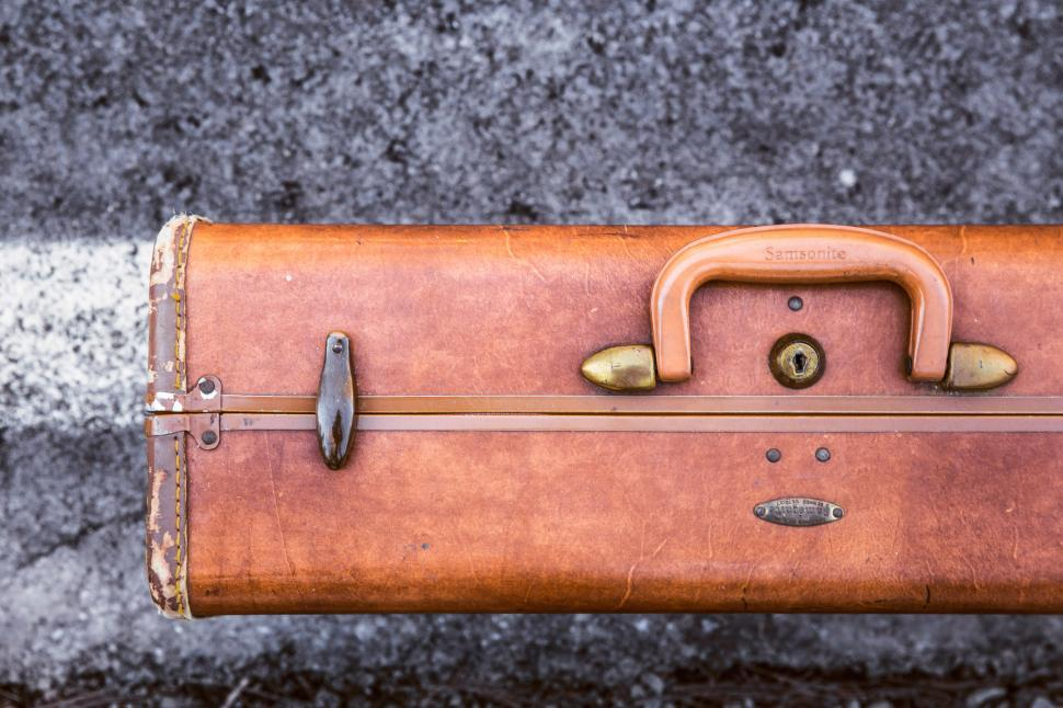Download Free Stock HD Photo of Vintage leather suitcase of samsonite Online