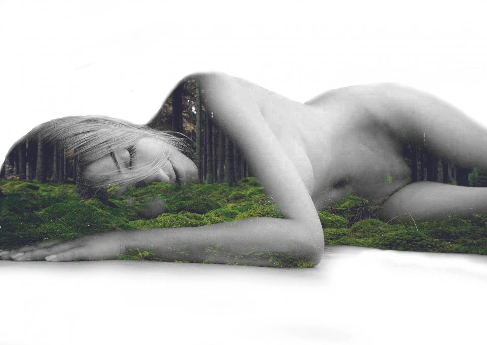 Download Free Stock HD Photo of Sleeping beauty - A naked princess of the woods - Double exposur Online