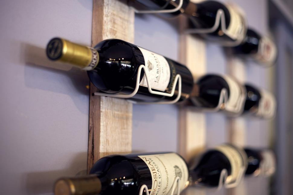 Download Free Stock HD Photo of Wines stored in a rack Online