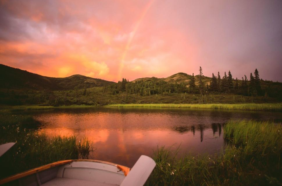 Download Free Stock HD Photo of Rainbow in Summer - Nugget Pond, Denali NP Online