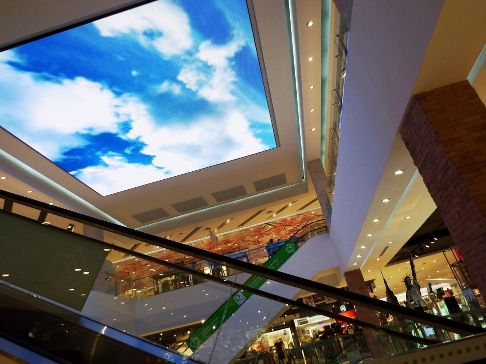 Download Free Stock HD Photo of Shoping Center Ceiling TV  Online