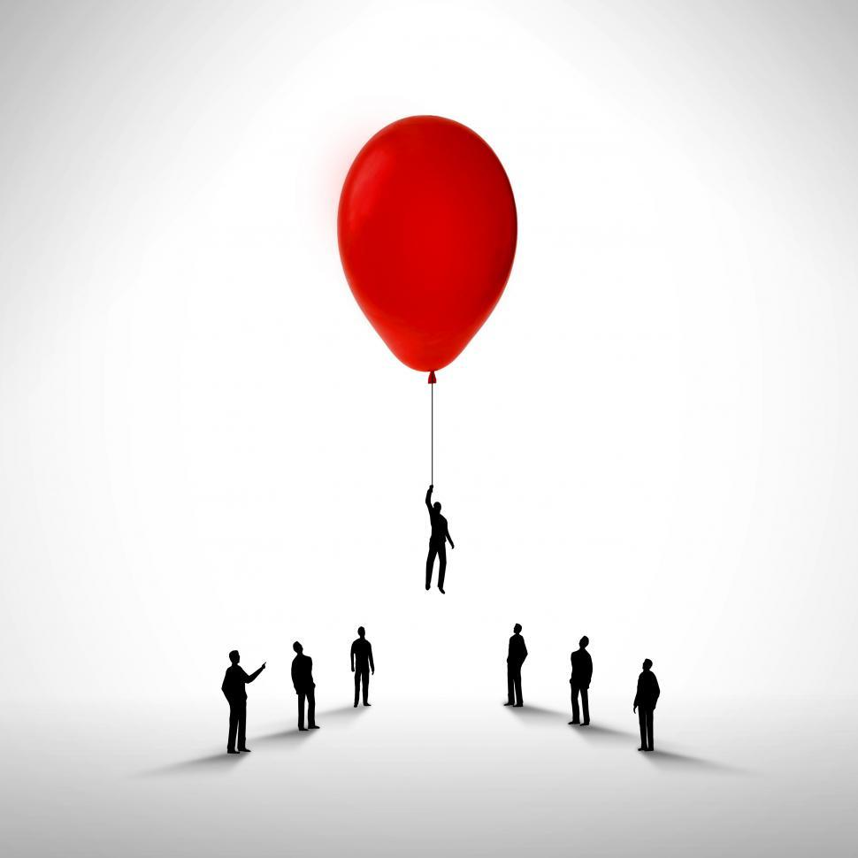 Download Free Stock HD Photo of Businessman rising by holding a balloon - Promotion and career c Online