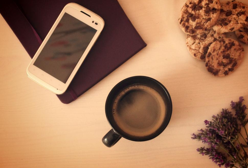 Download Free Stock HD Photo of Morning coffee and cookies - Mock up set of smartphone with note Online