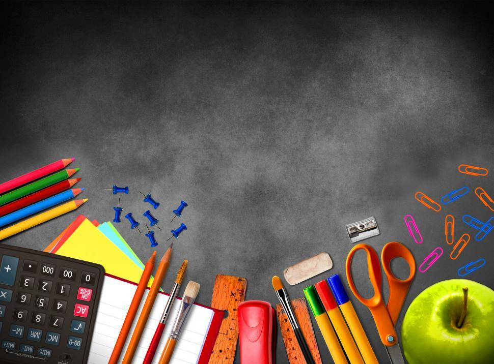 Download Free Stock HD Photo of Illustration of school supplies and material on blackboard backg Online