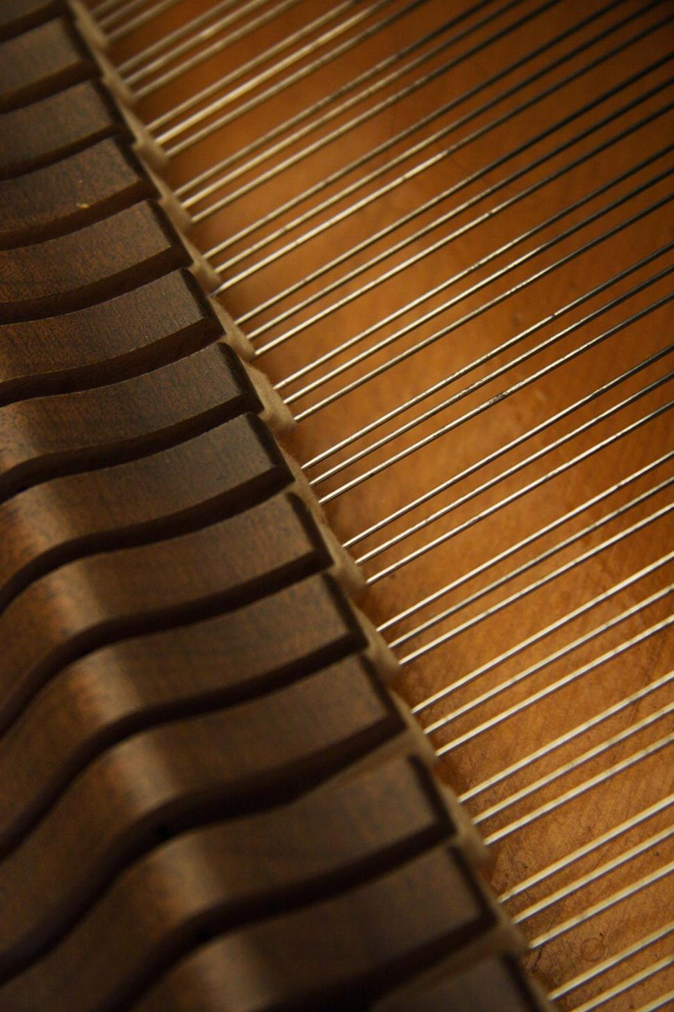 Download Free Stock HD Photo of Strings and hammer inside a piano Online