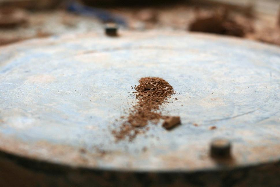 Download Free Stock HD Photo of Clay dust on the wheel head Online