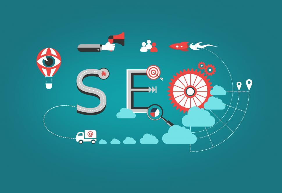 Download Free Stock HD Photo of Concept of Search Engine Optimization - SEO word with marketing  Online