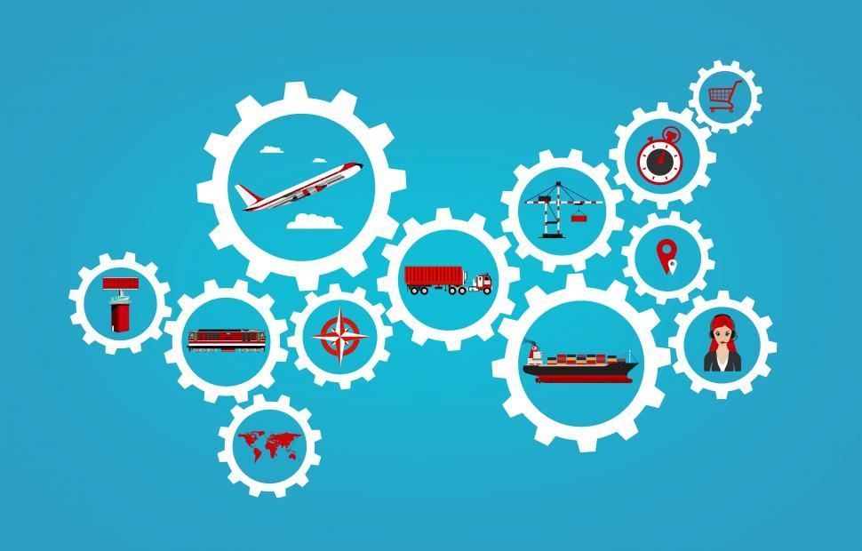 Download Free Stock HD Photo of Global logistics concept with transport industry icons Online