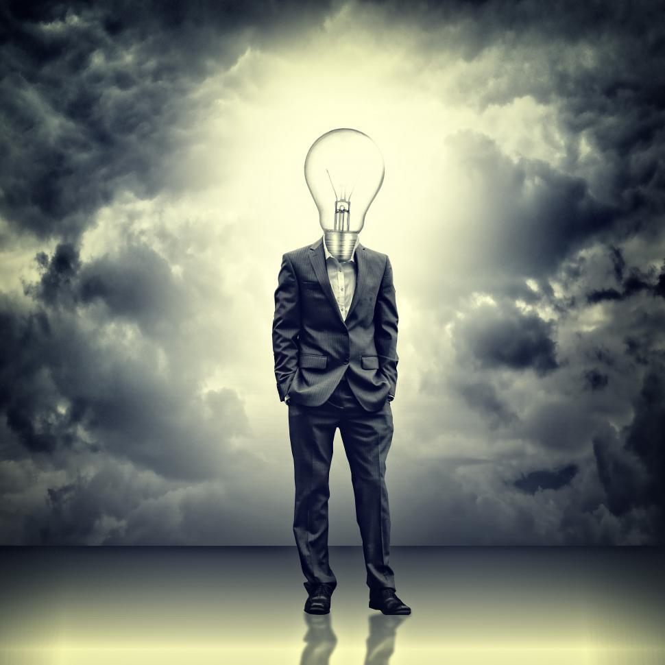 Download Free Stock HD Photo of Businessman with lightbulb head - Thinking process and ideas in  Online