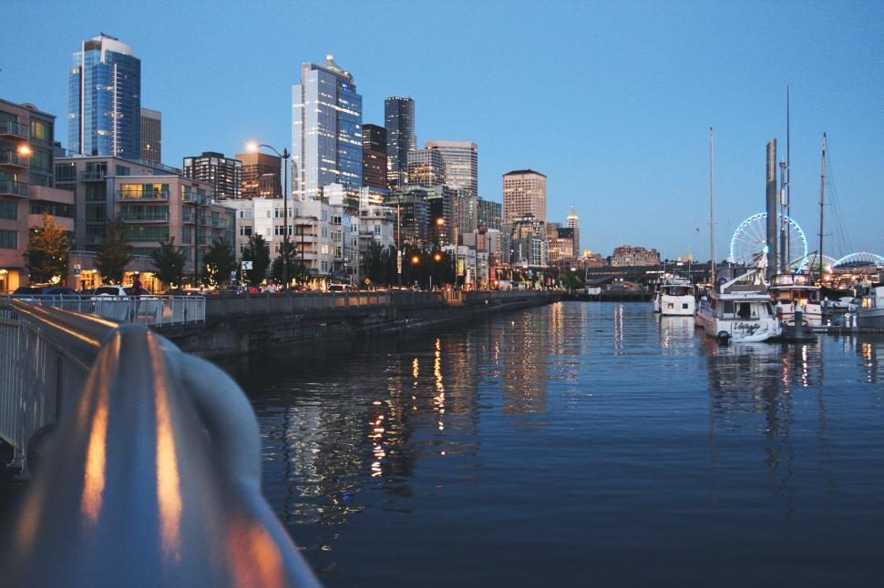 Download Free Stock HD Photo of Harbor and city skyline Online