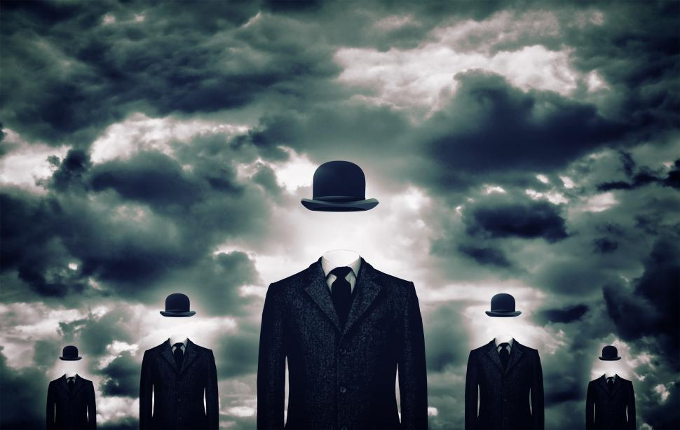 Download Free Stock HD Photo of Anonymous businessmen with bowler hats Online