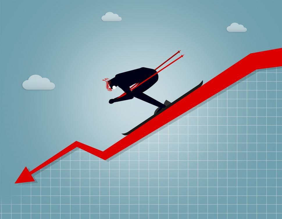 Download Free Stock HD Photo of Businessman going downhill - Market crash and correction concept Online
