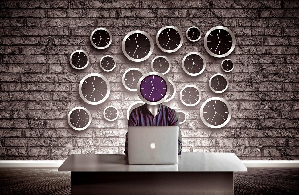 Download Free Stock HD Photo of Man with clock head - Slave to time concept Online