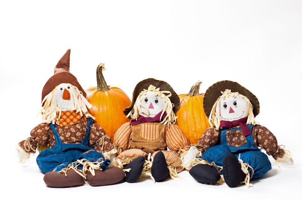 Download Free Stock HD Photo of autumn scarecrows Online