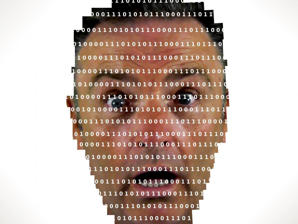 Download Free Stock HD Photo of Surprised man looking into binary code - The online privacy prob Online