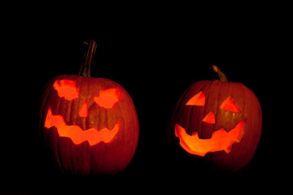 Download Free Stock HD Photo of Halloween Pumpkins illuminated Online